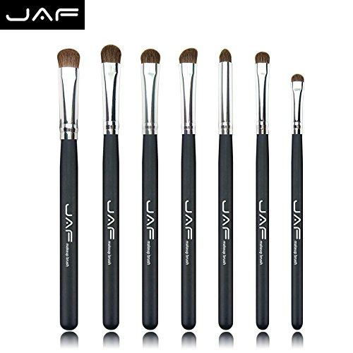 Eyeshadow Makeup Brush Set Professional- JAF 7pcs Natural Hair Tapered Smoky Eyes Makeup Brushes Black Including Large Meduim Small Mini Brushes Perfect For Defining Smudging Blending Shading
