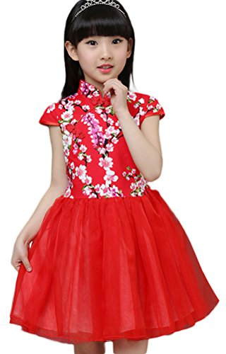 Soojun Kids Girls Frog Button Multi-Layer Tulle Pompon Dresses Color #31 8-9 Years]()