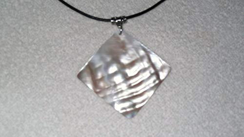 Polished Natural Shell Charm Necklace Jewelry Pendant Leather Ocean #IS-461 (Polished Shell Pendant)