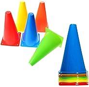 BiAnYC 12.5 Inch(32CM) Plastic Sport Training Traffic Cones- Set of 10-5 Colors-2 of Each Color(Orange/Yellow/