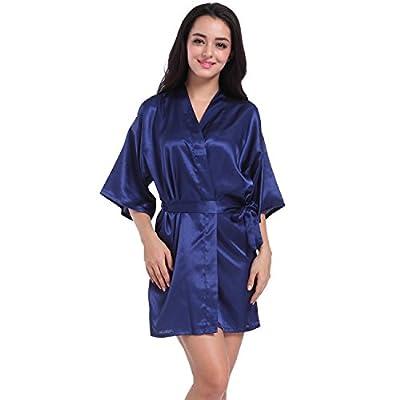 SIMJOY Women's Satin Short Kimono Robe Plain Dressing Gown Bathrobe Bridal Party Robe