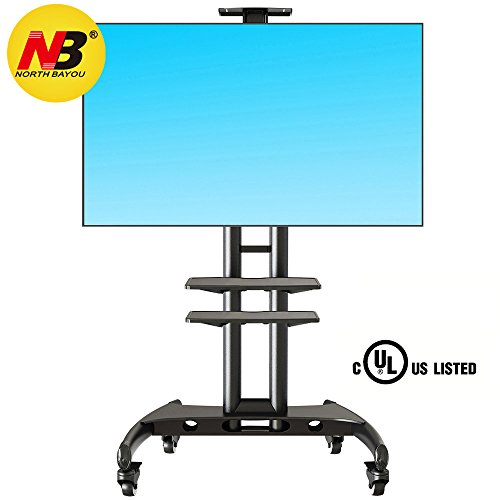 North Bayou Mobile TV Cart TV Stand with Wheels for 32 to 65 Inch LCD LED OLED Plasma Flat Panel Screens up to 100lbs AVA1500-60-1P (Black 2 Shelves)