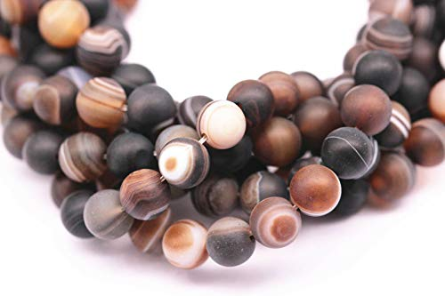 ShopForAllYou Design Making Matte Brown Stripe Agate Gemstone Round Loose Beads Size 6mm 15.5'' - Necklace Long Bead Glass Agate
