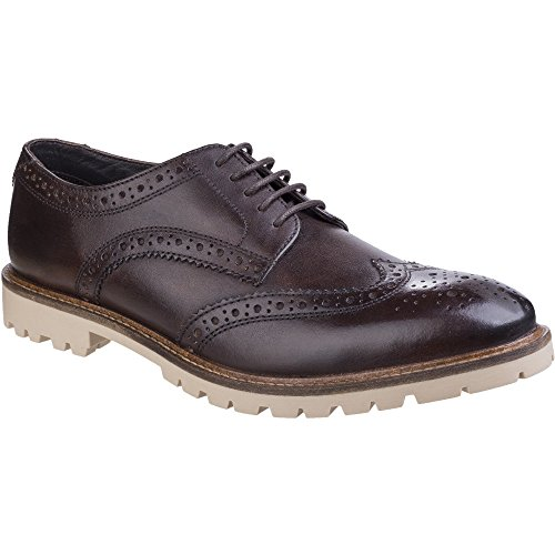 Base London Mens Raid Smooth Leather Smart Casual Brogue Derby Shoes Brown