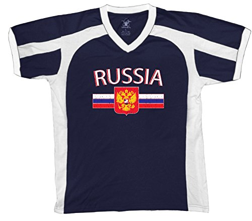 fan products of Russia Flag and Country Emblem Men's Soccer Style Sport T-Shirt, Amdesco, Navy/White/White Small