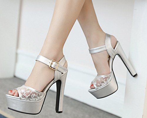 Linyi De High Aguja Tacones Ladies Silver Sandals Hollow Womens Heels Impermeable Plataforma Lace rYrqwF