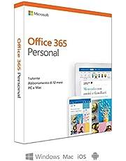 Microsoft Office 365 Personal   utilizzabile da 1 persona, Resta connesso su 5 dispositivi  1 abbonamento annuale   si installa su PC/Mac/iOS/Android    scatola