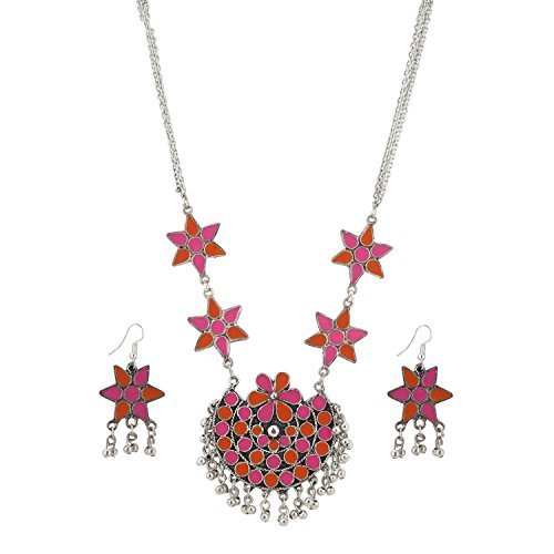 Aradhya Designer Multi Colour Dandiya Afgani Silver Necklace with Earrings for Women and Girls ()