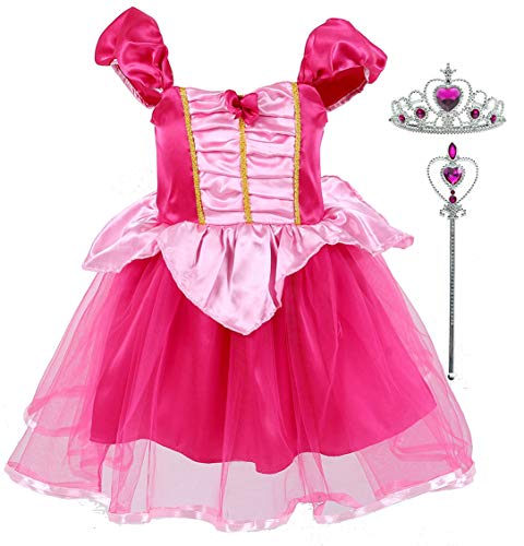 Tutu Dreams Princess Aurora Dress Up Kids Girls Sleeping Beauty Costumes Birthday Holiday Pageant Party (Aurora, Age:6X-7) ()