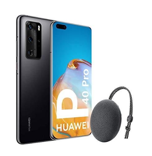 Huawei P40 Pro 5G – Smartphone de 6,58″ OLED (8GB RAM + 256GB ROM, Cámaras Leica (50+40+12+TOF), zoom 50x, Kirin 990 5G, 4200 mAh, EMUI 10 HMS) Negro + altavoz CM51 [Versión ES/PT]