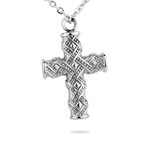 (HooAMI Cremation Jewelry Studded Sash Cross Pendant Memorial Urn Necklace Ash Holder Stainless Steel)