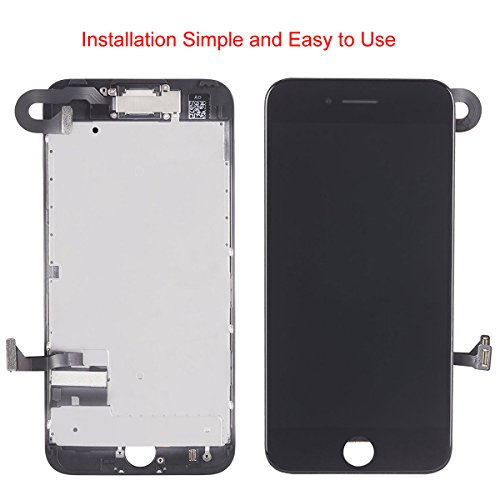 Display Touch Screen LCD Digitizer Assembly with 3D Touch for iPhone 7 Plus (5.5 inch) Replacement (with Front Camera and Sensor + Earpiece Speaker + Shield Plate + Display Frame Adhesive) (BLAC by AiYiA (Image #2)