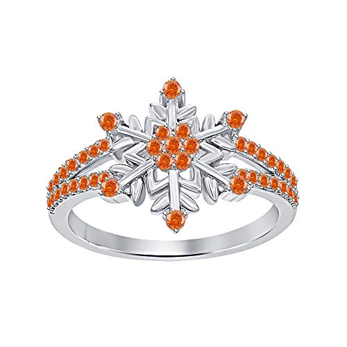 Womens 14K White Gold Plated Round Orange Sapphire Split Shank Flower Design Snowflake Ring 925 Sterling Silver