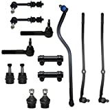 Front Upper & Lower Ball Joints Inner Outer Tie Rod Drag Link Adjustment Sleeves & Sway Bars 13pc Kit- Left & Right Side for - 2000 2001 Dodge Ram 1500 4WD