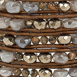 Chan Luu Pyrite Mix of Semi Precious Stones Leather Brown Wrap Bracelet BS-5485 PYRITE MIX