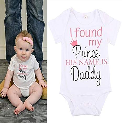 jsadfojas Grenouill/ère Magique /à Manches Courtes pour b/éb/é Fille avec Inscription /« I Found My Prince His Name is Daddy /»