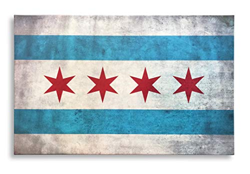 - Chicago City Flag Framed Canvas Print Ready to Hang