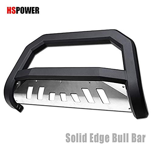 HS Power Matte Black Solid Edge Bold Bull Bar 2010-2018 for Dodge Ram 2500/3500 Models HD HeavyDuty Steel Brush Push Front Bumper Grill Guard with Stainless Skid Plate