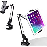 """AboveTEK Sturdy iPad Holder, Aluminum Long Arm iPad Tablet Mount, 360° Swivel Tablet Stand & Phone Holder with Bracket Cradle Clamps 4-11"""" Devices for Kitchen Bedside Office Desk Showcase Display"""