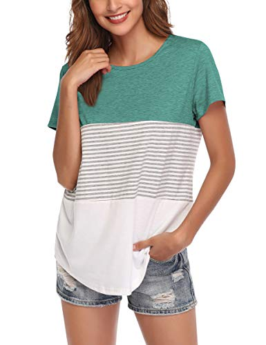 AUPYEO Women's Short Sleeve T Shirt Round Neck Color Block Stripe Top Casual Blouse Emerald Green