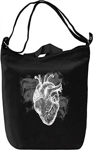 Black and White Heart Borsa Giornaliera Canvas Canvas Day Bag| 100% Premium Cotton Canvas| DTG Printing|
