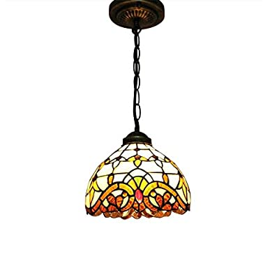 Pendant Light , Sanguinesunny Ceiling Lamp Vintage Art Stained Glass Style Renaissance Pattern Mini 1-Light Fixture