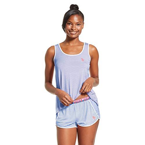 U.S. Polo Assn. Womens Stripe Tank Top and Pajama Shorts Lounge Sleep Set Blue X-Large