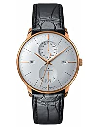 Junghans Watch Mens Meister Agenda Rose Gold PVD Case Matte-Silver Dial Day Date Week 027/7366.01