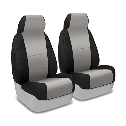 Coverking Custom Fit Front 50/50 Bucket Seat Cover for Select BMW 3-Series Models - Neosupreme (Gray with Black Sides)