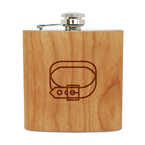 WOODEN ACCESSORIES COMPANY Cherry Wood Flask With Stainless Steel Body - Laser Engraved Flask With Dog Collar Design - 6 Oz Wood Hip Flask Handmade In USA