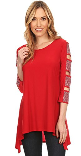 Love My Seamless Womens Asymmetrical 3/4 Sleeve Tunic With Cold Shoulder Cut Outs Rhinestone Sleeve