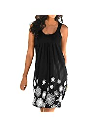 BingYELH Women's Elegant Straps Deep V Neck Sleeveless Floral Summer Casual Loose Party Dress Beach Sundress