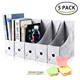 NARUTOO File Magazine Holder,5 PCS Kraft Paper Magazine Rack Files Folder,Storage Organiser Sorter Storage Shelf Excellent for School Dormitory,Office,Home Files Storage (Marble)