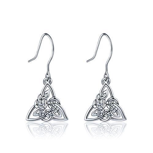 INFUSEU 925 Sterling Silver Irish Celtic Knot Drop Dangle Hook Earrings for Women (Trinity)