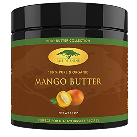 (16 oz) Raw Mango Butter with RECIPE EBOOK - Perfect for All Your DIY Home Recipes like Soap Making, Lotion, Shampoo, Lip Balm and Hand Cream - Bulk Organic Unrefined Mango Butter is Great for - Own Manga
