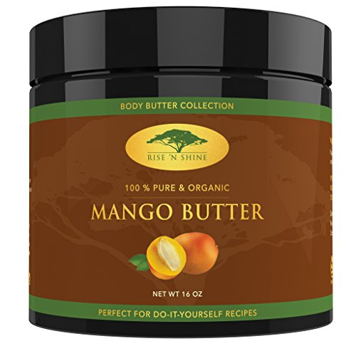 (16 oz) Raw Mango Butter with RECIPE EBOOK - Perfect for All Your DIY Home Recipes like Soap Making, Lotion, Shampoo, Lip Balm and Hand Cream - Bulk Organic Unrefined Mango Butter is Great for Scars