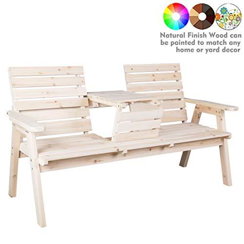 kdgarden Cedar/Fir Log Wood Patio Garden Bench with Foldable Table, Outdoor Wooden Porch 3-Seat Bench Chair for Garden Balcony Patio Backyard, Natural Finish