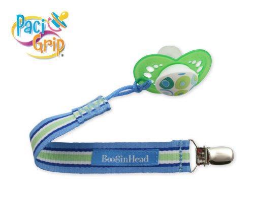 Pacifier Holder Saucy Blue/White/Green Stripe ()