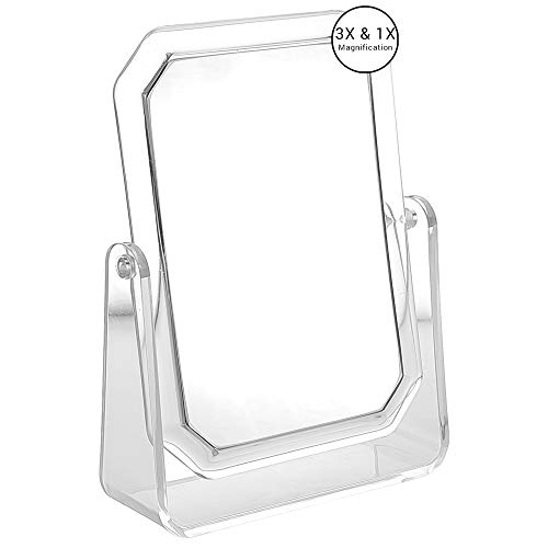 2 Sided Self Standing Mirror with Second Side 3X Magnifier, Makeup Vanity -