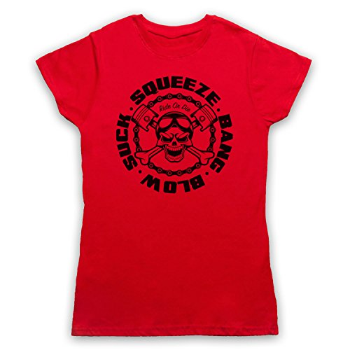 Suck Squeeze Bang Blow Ride Or Die Engine Camiseta para Mujer Rojo