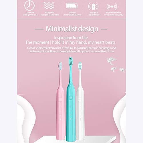 防水ワイヤレスソニック電動歯ブラシポータブル充電式ソニック歯ブラシ超音波歯ブラシ(ランダムカラー)