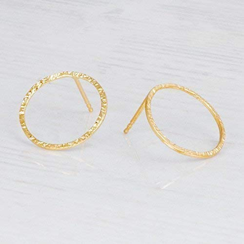 (Delicate Hammered Gold Circle Earrings - Designer Handmade Minimal Small Open Circle Stud Posts)