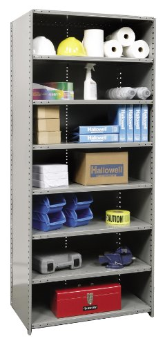 Hallowell 5523-18HG Heavy-Duty Closed Hi-Tech Shelving Starter Unit with 8 Adjustable Shelves, Hallowell Gray Steel, 36