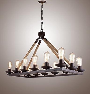Rope Filament Rectangular Chandelier Jute 39 Inches Rustic Iron Finish Pendant Prestigious (14 Lights 40 Inches)