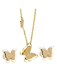 Bling Frosted Cute 18k Gold Animal Shape Butterfly Pendant Necklace and Earrings for Womens Ladies Girls