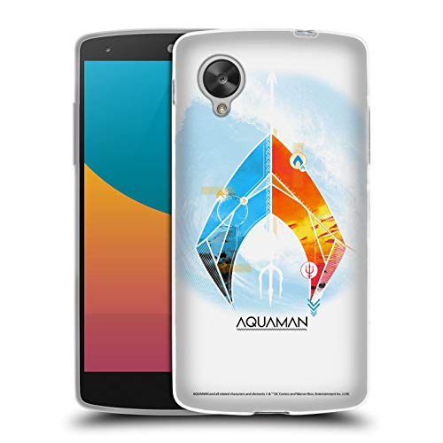 Official Aquaman Movie Trident of Atlan Logo Soft Gel Case Compatible for LG Nexus 5