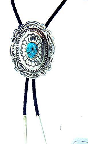 USA Hand Made by Navajo Carson Blackgoat large sterling silver Concho Bolo tie ()