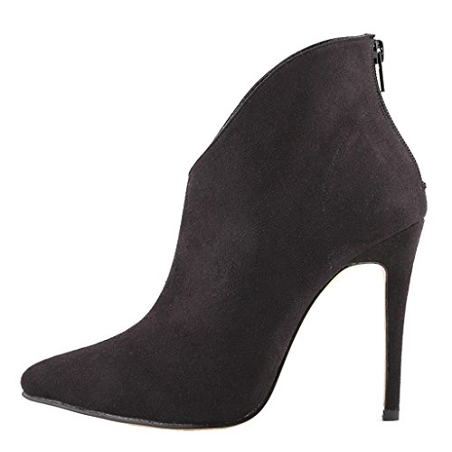 Toe Wedding Peep Thin Women's suede High Classic Dress Boots Short Black EKS Pointed Heels Zesvi qUwWITqB