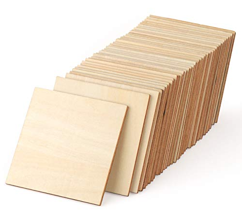 ilauke Unfinished Wood Pieces 50 Pcs 4 Inch Square Blank Wood Natural Slices Wooden Squares Cutouts for DIY Crafts Painting Staining Burning Coasters ()