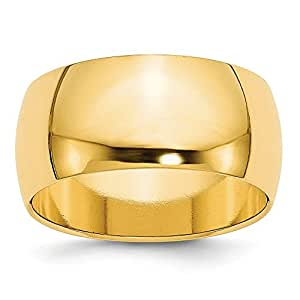 14ct amarillo 10 mm redonda de tamaño medio de Z 1/2 Anillo - JewelryWeb